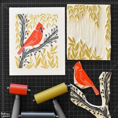 Beautiful Block Prints by Andrea Lauren - good examples of multi-layered images, with a different lino cut for each color