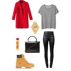 A fashion look from October 2014 featuring Chicnova Fashion coats, Alexander Wang leggings and Timberland boots. Browse and shop related looks.