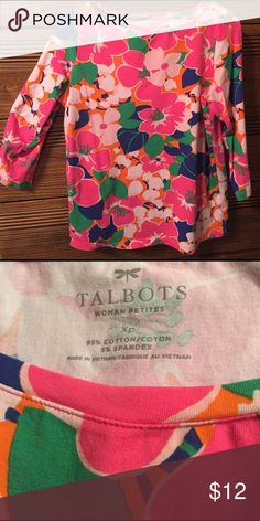 Talbots Petite X, 3/4 Sleeve Bright Floral Shirt This pretty Floral shirt will brighten up the doldrums of winter and carry  you into Spring. Petite X is Talbot's Women's Petite size line, bust 40 1/2, waist 34 1/2.   The fabric is 94% Cotten, 6% Spandex, Machine wash cold gentle cycle, and tumble dry low.  Gently used, smoke free home. Talbots Tops Tees - Long Sleeve