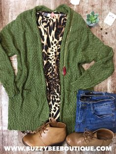 Beautiful olive popcorn cardigan outfit with animal print tee. Animal Print Tees, Animal Print Cardigans, Fall Cardigan, Cardigan Outfits, Plus Size Fall Outfit, Plus Size Outfits, Plus Size Womens Clothing, Clothes For Women, Plus Size Boutique