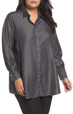 Foxcroft Plus Size Women's Chambray Tunic