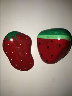 Strawberry and watermelons painted rocks