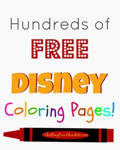 Chatting Over Chocolate: Hundreds of FREE Disney Coloring Pages! Free Disney Coloring Pages, Coloring For Kids, Colouring Pages, Printable Coloring Pages, Adult Coloring Pages, Coloring Sheets, Coloring Books, Free Coloring, Disney Tips