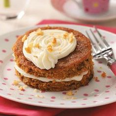 """Mini Carrot Cake Tortes Recipe -""""How cute!"""" is what you'll hear from guests when they spy these individual tortes. A rich cream cheese frosting is sandwiched between layers of moist cake. —Beatriz Marciano, Rockville, Maryland"""