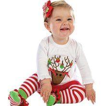 Toddler Christmas Santa Deer Top T-shirt Leggings Pants Outfit