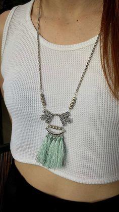 Bohemian Aztec Long Silvertone Bead Mint Tassel Necklace by Lycidasjewelry on Etsy Tassel Necklace, Arrow Necklace, Pendant Necklace, Ss 15, Aztec, Tassels, Bohemian, Mint, Gift Ideas