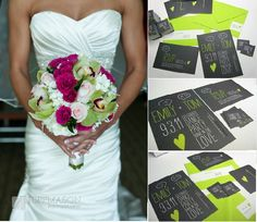 Lime Green Fuschia Pink Wedding Theme - Complement a white wedding gown or your wedding stationary with lime green and fuchsia pink as colourful inspiration to brighten up your wedding day!