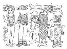 Karen`s Paper Dolls: Pia 1-4 Paper Doll to Colour. Pia 1-4 påklædningsdukke til at farvelægge.