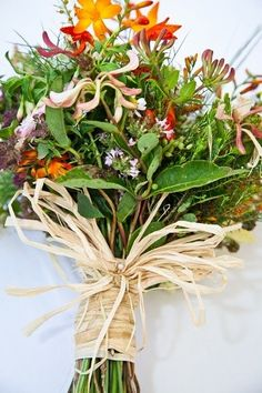 wild flowers with raffia Wild Flowers, Floral Arrangements, Wedding Flowers, Bouquet, Herbs, Plants, Image, Bouquets, Bunch Of Flowers