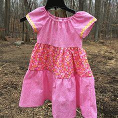 Girls Size 5 three tiered dress in pink