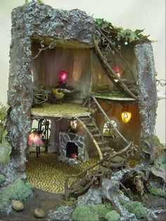 How To Make Fairy Furniture   Now this I did make. Its a quilted fairy house made from batiks, yarn ...