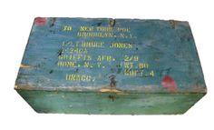 Vintage painted wood military footlocker  WWII to by wonderdiva, $135.00