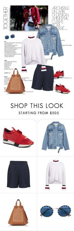 """""""Denim + Shorts for Friday"""" by shoptillyadrop ❤ liked on Polyvore featuring Balenciaga, Steve J & Yoni P, Thom Browne, Loewe and Valentino"""
