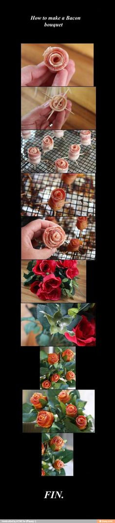 How to make bacon roses  :)