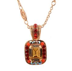 "Rose Gold Plated ""Ring of Fire"" Rectangle Swarovski Crystal Pendant Necklace, 14+4"""