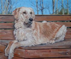 "GoldenDays, AutumnNights, The Golden Retriever painted in oils. Custom oil portrait painting by puci, 10x12"", $307."
