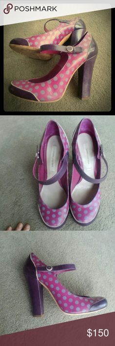 Marc Jacobs Maryjane size 40 Polka dot heels.  Rare pair almost vintage now.  Worn but in excellent condition.  Leather upper. Marc Jacobs Shoes Heels