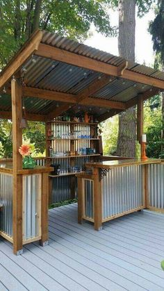 Great Inspiration! After seeing all the creations made from corrugated tin and reclaimed wood, I thought this outdoor bar would get some of those creative juices flowing....and a couple of cocktails to go with it! #shedplans Pergola, Arbors