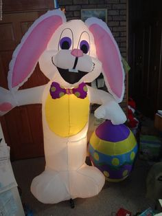 Large gemmy easter bunny rabbit & egg airblown inflatable lights up yard decor