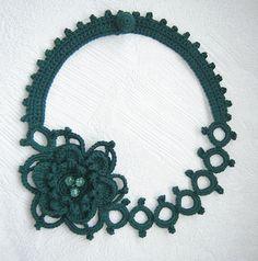 Dark green flower crochet necklace . by agatsknitting on Etsy