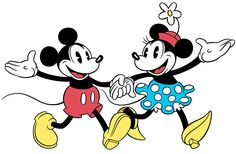 Mickey and Minnie walking hand in hand