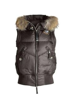 Parajumpers Bear Vest Fur Trim Women's Brown