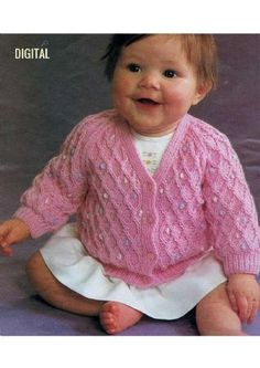 PDF Digital Download Baby Fancy V Neck Cardigan Optional Embroidery 16-20'' 4 ply yarn Baby Knitting Patterns, Crochet Patterns, 4 Ply Yarn, Bebe Baby, V Neck Cardigan, Vintage Knitting, Free Pattern, Knit Crochet, Fancy