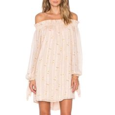 WAYF Off The Shoulder Dress Only worn once for a photoshoot! PERFECT condition!! Since its brand new I'm asking close to what I paid for it. Blush colored with floral pattern. Off the shoulder. Elastic neckline so easy to move in. Still being sold at REVOLVE. Can ship same-day as purchase! WAYF Dresses Mini