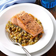 Broiled Salmon With Mediterranean Lentils - carrot - onion - pure olive oil - dried lentils - dried green split peas - 2 garlic cloves - capers - lemon - salmon fillets  butter flavored cooking spray