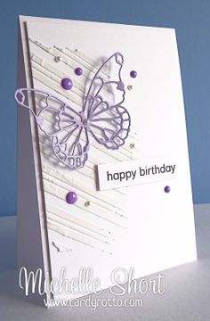 handmade birthday card from The Card Grotto: Butterfly ...  stencil used for uneven textured lines ... lavender die cut skeleton butterfly ... enamel dots and pears ... artistic look ... delightful card!