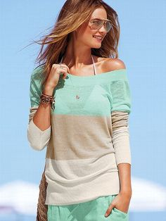 Linen Tunic Sweater - Victoria's Secret from Victoria's Secret. Saved to sweaters:). Passion For Fashion, Love Fashion, Womens Fashion, Fashion 2014, Style Fashion, Mode Style, Style Me, Summer Outfits, Cute Outfits
