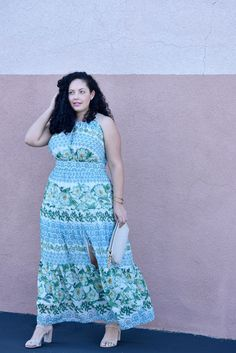 Plus size Maxi Dress by Eliza J, Bag from BCBG, Shoes by Nordstorm, and Love Lorn Lipstick by Mac via @girlwithcurves