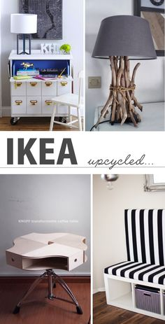 DIY IKEA hacks.  You can upcycle cheap furniture into something cool and useful!  Love these ideas!
