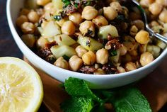 warm chickpea salad with cumin & garlic.  good way to use up the 800 cans of chickpeas sitting in the pantry..