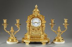 Napoleon III Clock and Pair of Double-Armed Candlesticks
