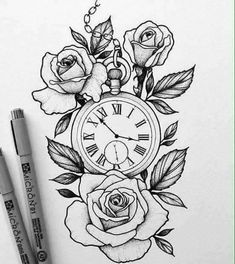 watch design for a client by / /. - & Pocket watch design for a client by / /. - ❤️️toll, Pocket watch design for a client by / /. Flower Tattoo Designs, Tattoo Designs For Women, Designs To Draw, Tattoos For Women, Tattoo Women, Drawing Designs, Rose Drawing Tattoo, Tattoo Sketches, Tattoo Drawings