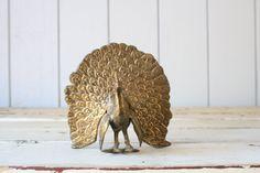 Vintage Brass Peacock // Solid Brass by genrestoration on Etsy