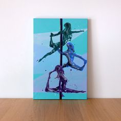 'Totem Polers' is a pole dance resin figure painting on canvas. The trio of aerialists are stacked in three different positions on the pole Resin Paintings, Pole Dance, Figure Painting, Original Artwork, Canvas, Tela, Canvases, Pole Dancing, Pole Fitness