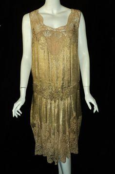 1920s Metallic Gold Lame and Lace Flapper Dress. Materials: antique lame, metallic lace, silk underslip, silk alencon lace, metallic floral lame applques. Front