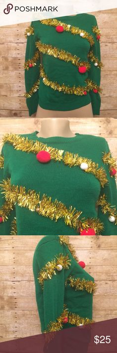 """Ugly Christmas Sweater Ransom Christmas Sweater.. EUC.. The bells actually """"jingle"""" Sweaters Crew & Scoop Necks"""