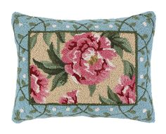 Peony I Hook Wool Lumbar Pillow