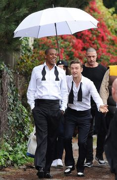 """Happy Birthday (1/31) Justin Timberlake who surprised us first by transcending his teen idol status and then still surprises us with his own brand of electro. Here he is with Jay-Z on the set of the music video of his new single """"Suit and Tie""""."""