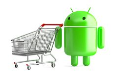 Free stock photo: Android robot with shopping cart. Contains clipping path Free Photos, Free Stock Photos, Robot, Cart, Android, 3d, Google, Illustration, Shopping