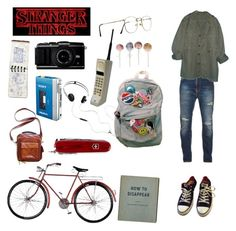 """stranger things oc"" by reboundrainbow ❤ liked on Polyvore featuring Converse, Nudie Jeans Co., GUESS, Sony, AIAIAI and Victorinox Swiss Army"