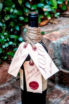 Valentine's Day Wine and Gift Tags - Personalized Hand Calligraphy #valentinesday #wine #gift #diy