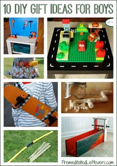 10 DIY Christmas Gift Ideas for Boys. I really want to have sons, I love boys too much. :p I think their are 3 little boys in my life that will be getting mini bow's and arrows for Christmas!!!