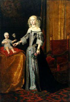 1654/55  German --- Elisabeth Amalie Magdalene of Hesse-Darmstadt (1635-1709) and her oldest daughter Eleonore Magdalene Therese of Neuburg (1655-1720).