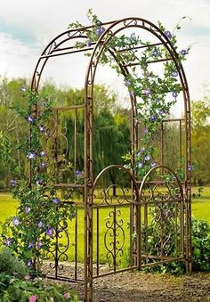 Garden Arbor Gate Dark Bronze Iron Arch Archway Patio Lawn Wedding Trellis 7FT H