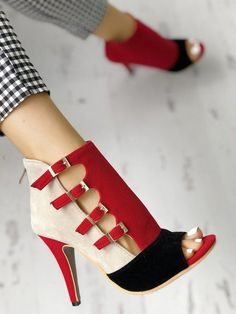 49fb47d8c9e5 Colorblock Splicing Hollow Out Buckled Thin Heels  womensfashions Strap  Heels