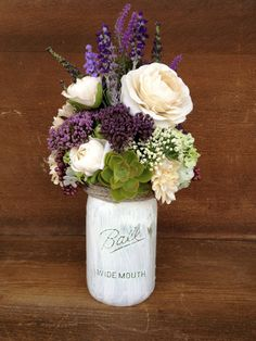 Mason Jar Arrangement  Purple and Ivory Silk Floral by BLISSNBLOOM, $35.00